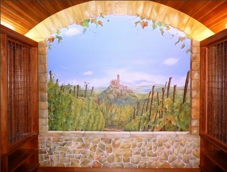 italian lanscape in cellar