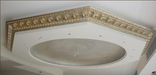 silver and gold leaf on cornice with pearl finish inside dome