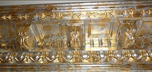 silver and gold leaf on cornice